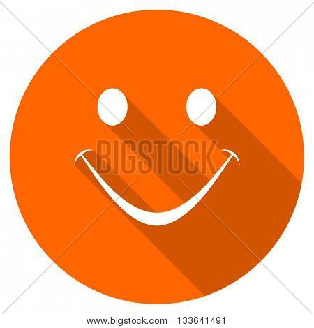 smile vector icon, circle flat design internet button, web and mobile app illustration