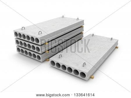 Construction of concrete slab isolated white background. 3d illustration.