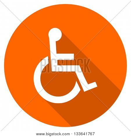 wheelchair vector icon, circle flat design internet button, web and mobile app illustration
