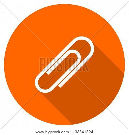paperclip vector icon, circle flat design internet button, web and mobile app illustration