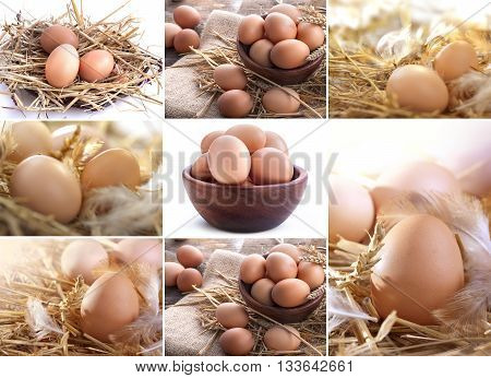 collage of eggs in the straw bowl in a linen sack ...