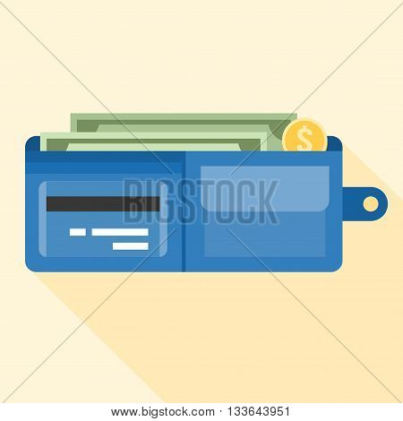 wallet full of money and credit card illustrator, wallet case icon with money and coin, flat design