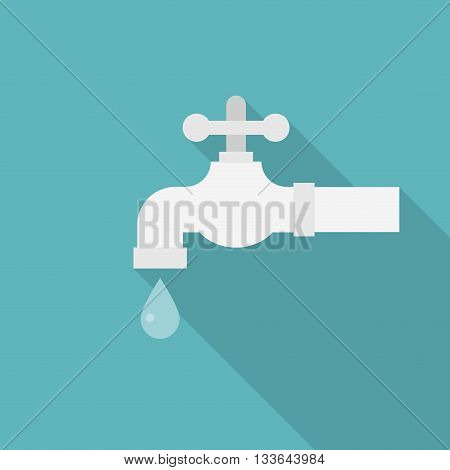 Water tab illustration vector, faucet with droplet icon ,flat design