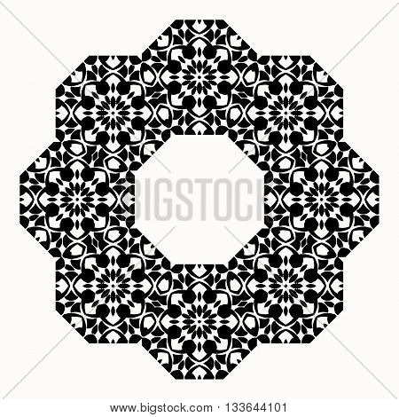 Round decorative element for design. Round orthogonal border.