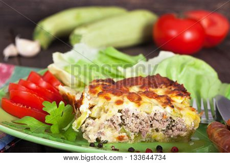 Traditional Balkan moussaka (musaka) with zucchini and pepper