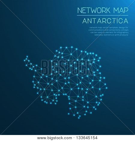 Antarctica Network Map. Abstract Polygonal Map Design. Internet Connections Vector Illustration.