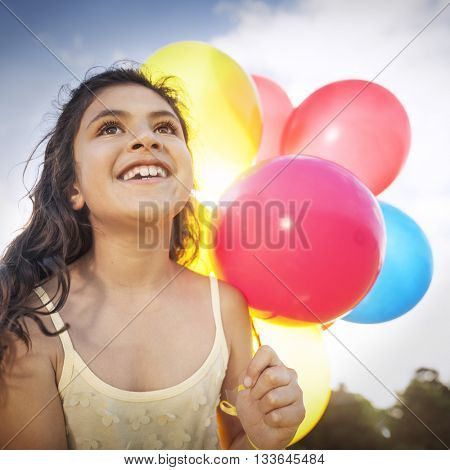 Happy Girl Dozen Helium Balloons Playful Concept