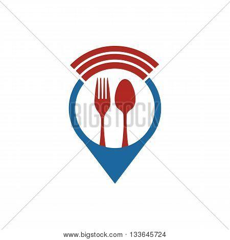 logo icon food symbol location cutlery design vector