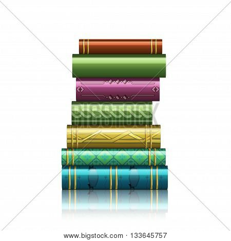 Stack of multi colored book isolated on a white background