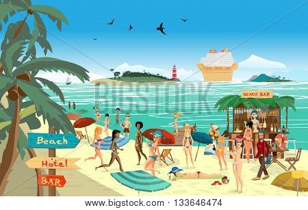 Sea landscape summer beach. Vector cartoon flat illustration. Beach bar with bartender a woman in a bikini to swim and sunbathe play sports. Cruise ship island and lighthouse