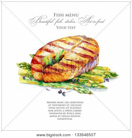 Grilled salmon with asparagus. Main dish. Watercolor illustration of food.