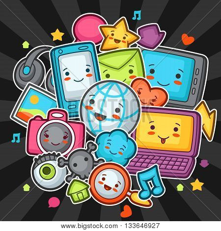 Kawaii gadgets social network items. Doodles with pretty facial expression. Illustration of phone, tablet, globe, camera, laptop, headphones and other.