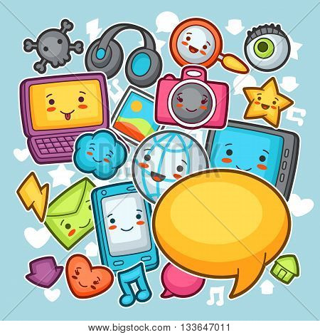 Kawaii gadgets social network background. Doodles with pretty facial expression. Illustration of phone, tablet, globe, camera, laptop, headphones and other.
