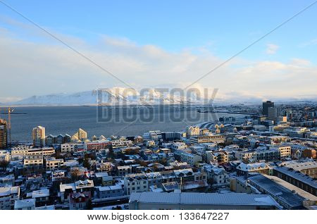 A view over the rooftops of Reykjavik