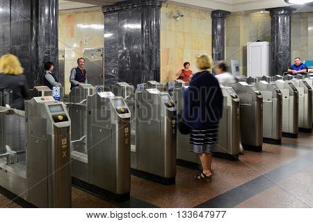 MOSCOW, RUSSIA -03.06.2016. Turnstiles at Kurskaya metro station. Moscow Metro carries 7 million passengers per day