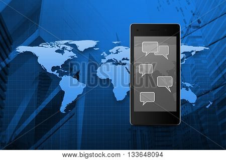 Social chat sign and speech bubbles on modern smart phone screen on wooden table in front of map and city tower background Social network concept Elements of this image furnished by NASA