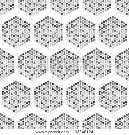 Hexagon seamless pattern-vector illustration. The hexagon consists of small circles. white background