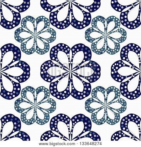 vector geometric flowers seamless-vector illustration. Flowers isolated on white background.