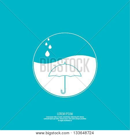 Abstract background with umbrella. Flat design. Vector element. Sphere with the liquid and drops of water. Waterproof icon.
