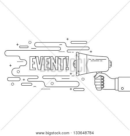 Hand holding a megaphone. Icon  loudspeaker with linear banner, text box. Notification through the speaker, advertisement bullhorn. Vector. Event.