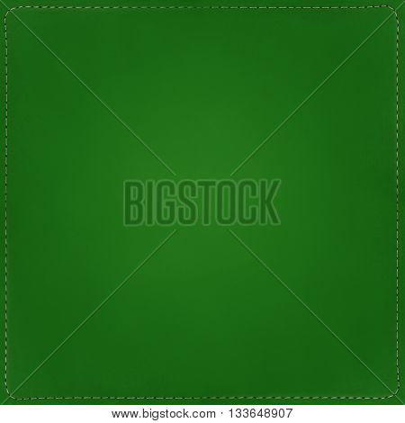 Green textile background with seams around, texture.