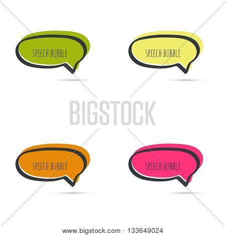 Set hand drawn speech bubble. Vector frame. Text box. Multicolor, crimson, maroon, orange green yellow