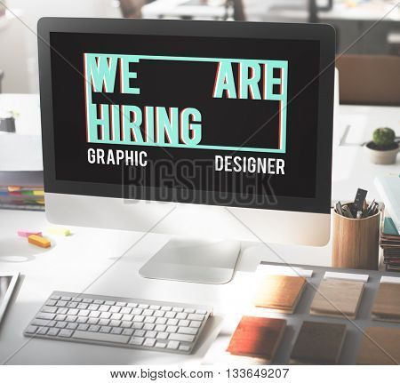We are Hiring Job Applicayion Creative Occupation Designer Concept