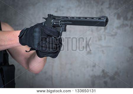 Terrorist In Balaclava With Big Gun Rifle In Hands