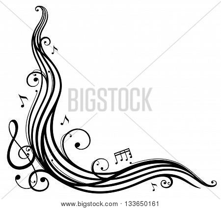 Music sheet with music notes and clef, vector design element