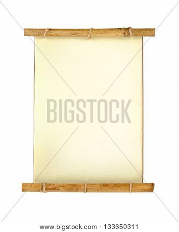 Old vintage scroll letter isolated on white background