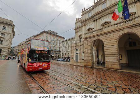 Facade Of The La Scala Theater, Milan, Italy