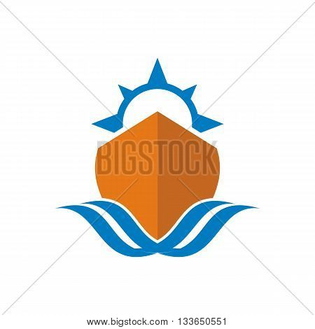symbol design sailing boat yacht ship time tourism icon vector abstract
