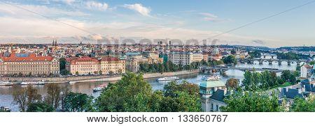 Vltava river and bridges in Prague Czech republic Europe.