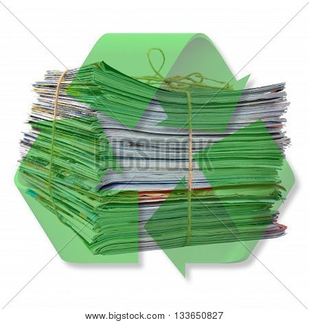 Pile of newspapers ready to recycling isolated on white background.