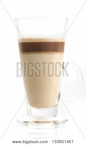 Latte macchiato in transparent glass isolated on white