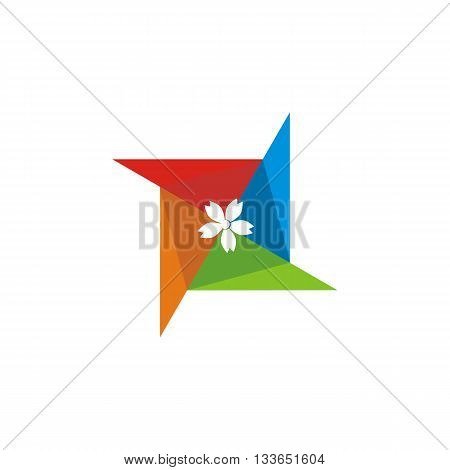 abstract logo japanese painting color beauty asia icon vector