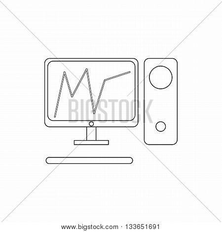 Graph in computer screen icon in thin line style isolated on white background