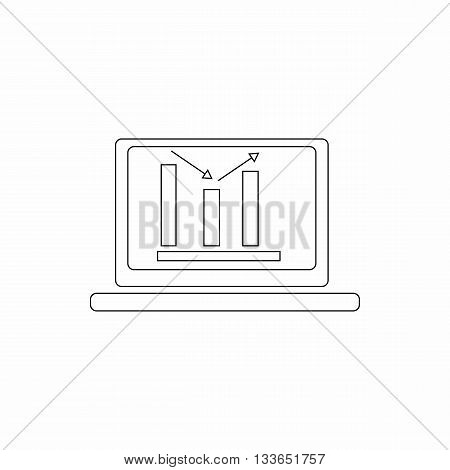 Laptop with business graph icon in thin line style isolated on white background