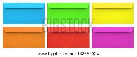 Set of multicolored envelopes isolated on white background