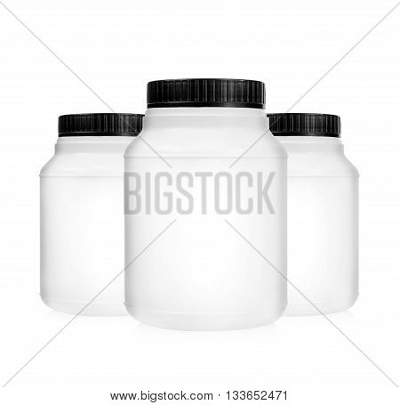 Three plastic jars containers isolated on white