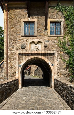 The gate of Czocha Castle in Poland Lower Silesia Province