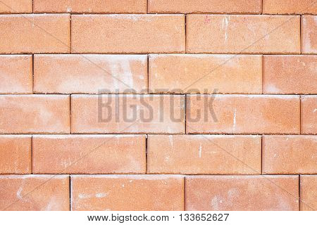 closeup of old red brick wall texture.