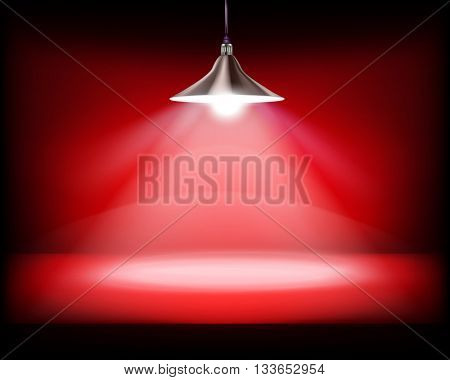 Desk with hanging lamp. Vector illustration.