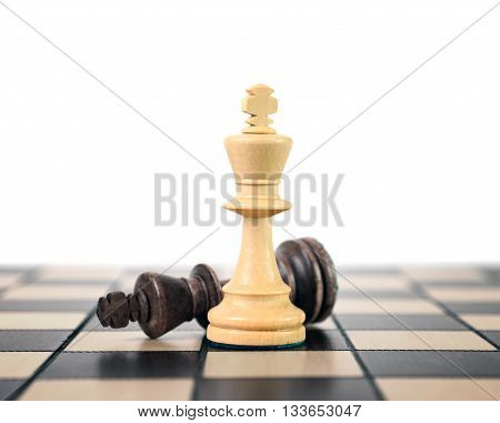 White and black king challenging for victory