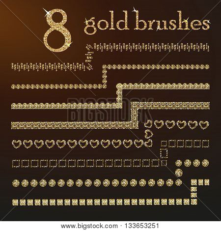 All used pattern brushes are included in brush palette. Gold glitter brushes. 8 Gold dust brushes. Gold brushes for your design. Vector golden geometric set of sparkling borders.  Golden design brushes set.