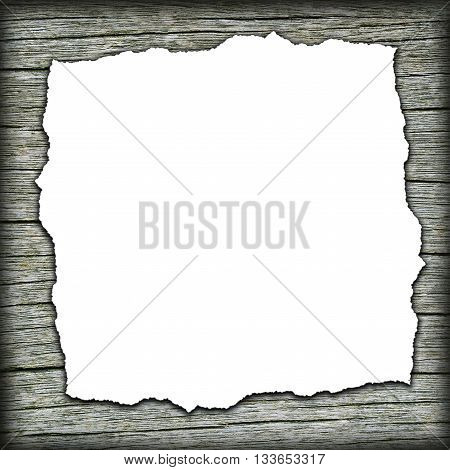 Old wooden background with burned white center