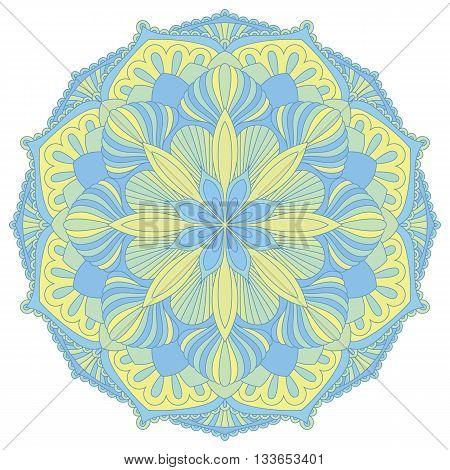 Mandala. Oriental decorative element.Islam, Arabic, Indian, ottoman motifs. Vector illustration of mandala. Colorful mandala symbol. Ethnic design element.