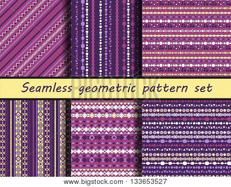 Seamless vector texture set. The ancient Maya style. Peruvian pattern background with tribal shape elements. Vector.