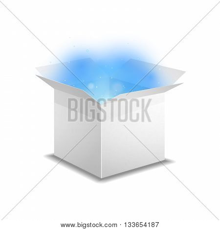 White box with bright blue magic light inside isolated on white