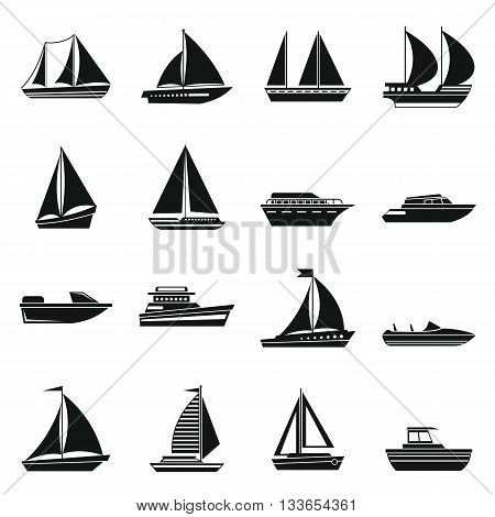 Boat and ship icons set in simple style for any design